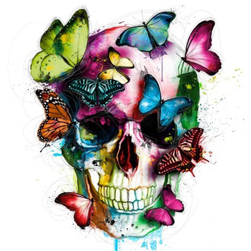 Diamond Painting - Butterfly & Skull - Floating Styles - Diamond Embroidery - Paint With Diamond