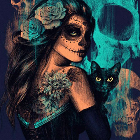 Bilde av Diamond Painting - Mystisk Skull Woman And Her Cat - Flytende Stiler - Diamond Broderi - Paint With Diamond