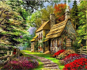 Paint by Numbers - The Cabin In The Woods - Floating Styles - Diamond Embroidery - Paint With Diamond