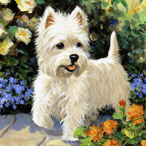 Diamond Painting - Westie Dog - Stili fluttuanti - Ricamo a diamante - Dipingi con diamante
