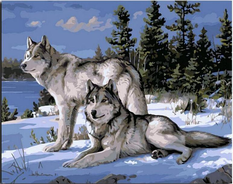 Paint by Numbers - Snowfield Wolves - Floating Styles - Diamond Embroidery - Paint With Diamond
