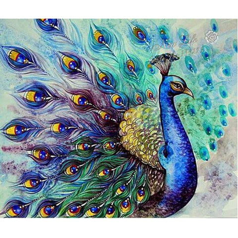 Diamond Painting - Blue Peacock - Floating Styles - Diamond Embroidery - Dipingi con diamante