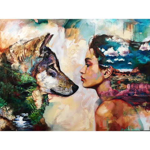 Obraz Diamond Painting - Wolf And Girl - Floating Style - Diamond Haft - Paint With Diamond