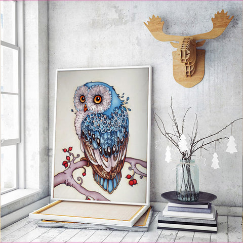Pintura de diamante - Magic Snowy Owl - Estilos flotantes - Bordado de diamantes - Pintura con diamante