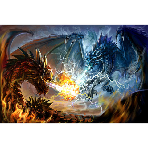 Image of Diamond Painting - Dragon Battle - Floating Styles - Diamond Embroidery - Paint With Diamond