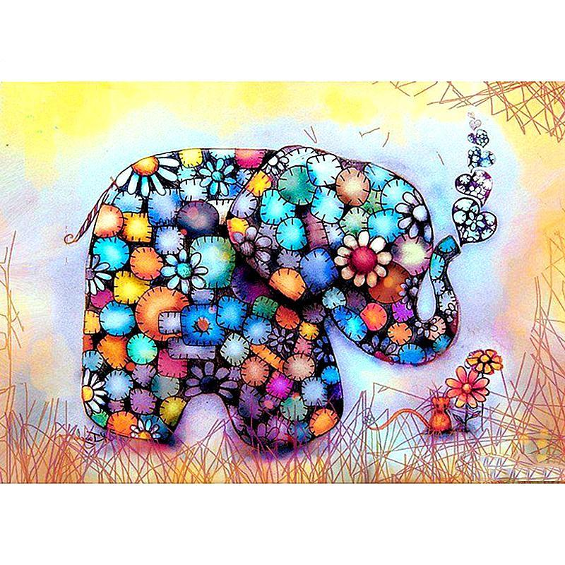 Diamond Painting - Splendid Elephant - Floating Styles - Diamond Embroidery - Paint With Diamond