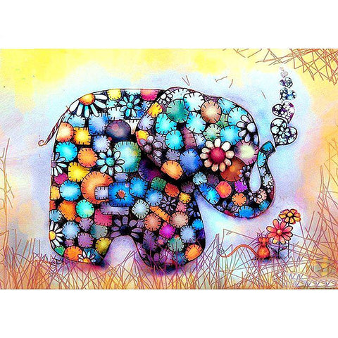 Deal of Diamond Painting - Herrlicher Elefant - Floating Styles - Diamantstickerei - Malen mit Diamant