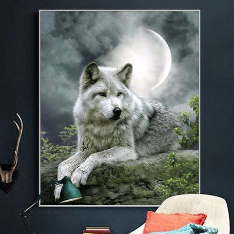 Diamond Painting - White Wolf Under Moonlight - Stili fluttuanti - Diamond Embroidery - Paint With Diamond