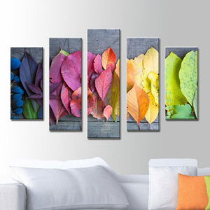 5 Panels Diamond Painting -  Rainbow Leaves - Floating Styles - Diamond Embroidery - Paint With Diamond
