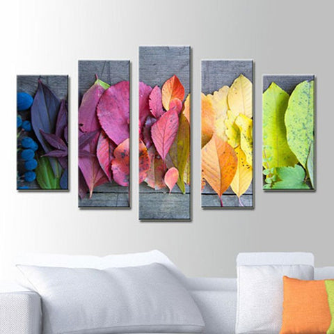 Image of 5 Panels Diamond Painting -  Rainbow Leaves - Floating Styles - Diamond Embroidery - Paint With Diamond