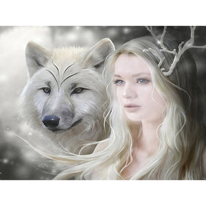Diamantmalerei - Wolf und Fee - Floating Styles - Diamantstickerei - Malen mit Diamant