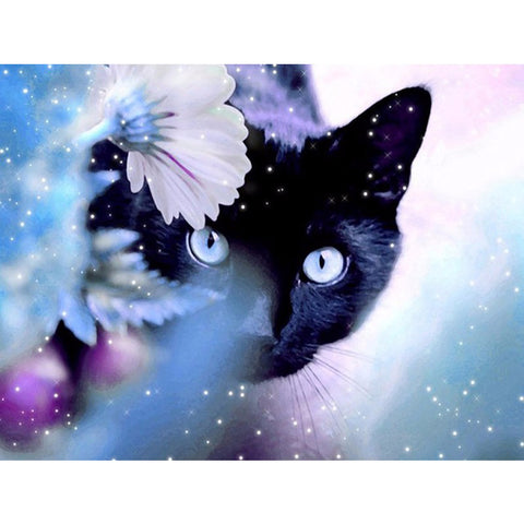 Imagem de Pintura Diamante - Black Cat In The Mist - Estilos Flutuantes - Diamond Embroidery - Paint With Diamond