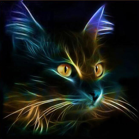 Pintura Diamante - Meu Gato Do Inferno - Estilos Flutuantes - Diamante Bordado - Pintar Com Diamante