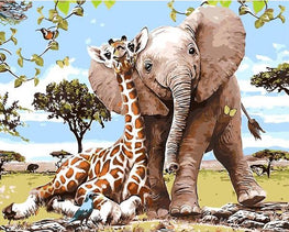 Paint by Numbers - Best Friends Giraffe & Elephant - Floating Styles - Diamond Embroidery - Paint With Diamond