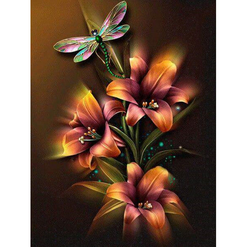 Daimond Painting - Lily Flowers & Dragonfly - Floating Style - Diamond Haft - Paint With Diamond
