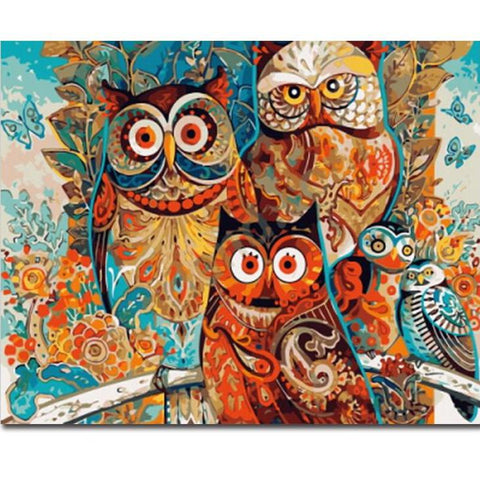 Paint by Numbers - Fairy Owls - Floating Styles - Diamond Embroidery - Paint With Diamond