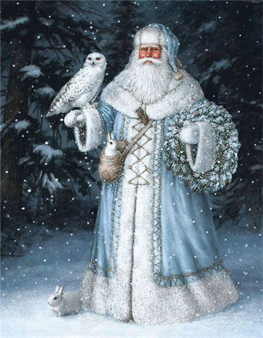 Bild på Diamond Painting - Snow Father Christmas - 1 - Flytande stilar - Diamantbroderi - Måla med Diamond
