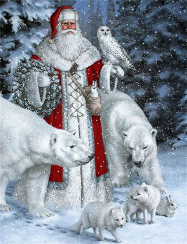 Image of Diamond Painting - Snow Father Christmas - 2 - Floating Styles - Diamond Embroidery - Paint With Diamond