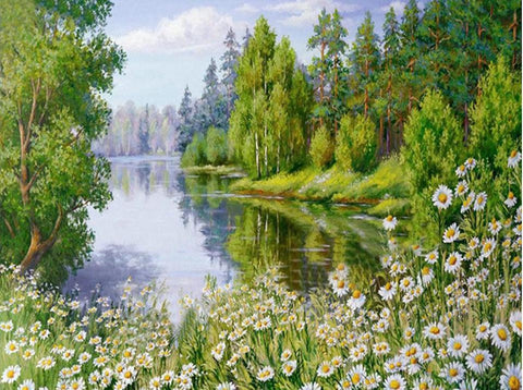 Diamond Painting - Summer Riverside - Floating Style - Diamond Haft - Paint With Diamond