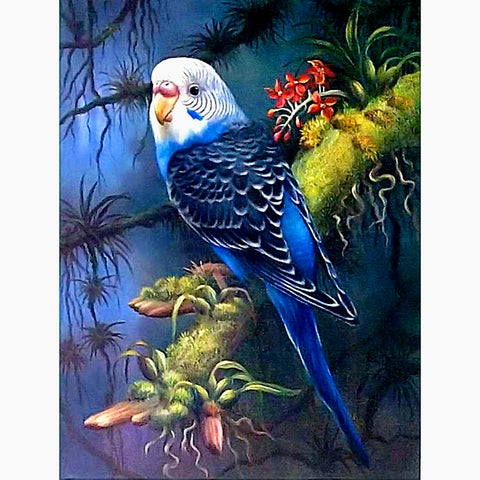 Bild på Diamond Painting - Budgerigar Parrot - Flytande stilar - Diamond Broderi - Måla med Diamond
