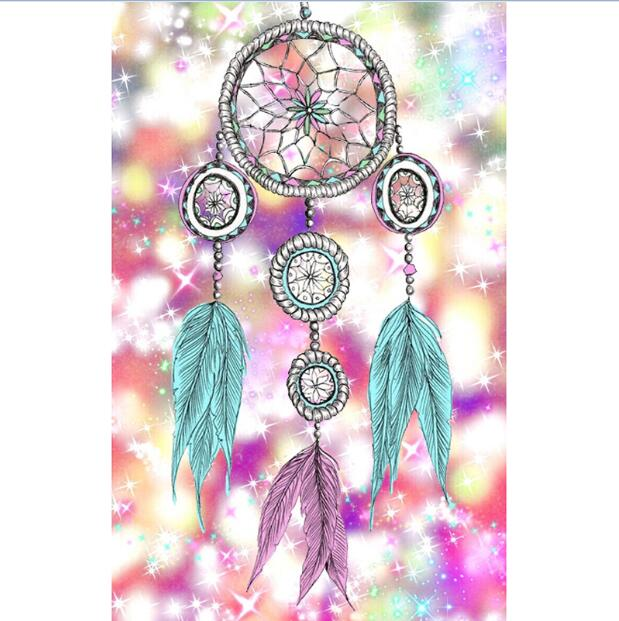 Pintura de diamante - Indian Dream Catcher - 8 - Estilos flotantes - Bordado de diamantes - Pintura con diamante
