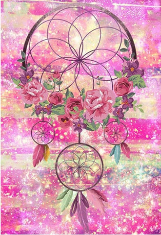 Imagen de pintura de diamante - Indian Dream Catcher - 4 - Estilos flotantes - Bordado de diamante - Pintura con diamante