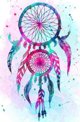Pintura de diamante - Indian Dream Catcher - 7 - Estilos flotantes - Bordado de diamantes - Pintura con diamante
