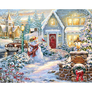 Diamond Painting - Christmas Snowman - Floating Style - Diamond Haft - Paint With Diamond