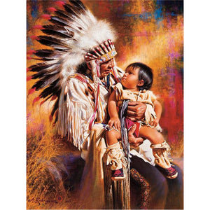 Diamond Painting - Indian Chief & Baby - Floating Styles - Diamond Embroidery - Schilderen met diamant