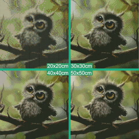 Diamentowe malowanie - Little Owl - Floating Style - Diamond Haft - Paint With Diamond