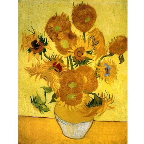 Diamond Painting - Van Gogh Sunflowers - Floating Styles - Diamond Embroidery - Paint With Diamond