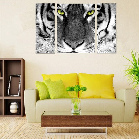 Image of 3 Panels Diamond Painting -  White Tiger - Floating Styles - Diamond Embroidery - Paint With Diamond