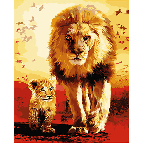 Immagine di Diamond Painting - Lion Father & Son - Stili fluttuanti - Diamond Embroidery - Paint With Diamond