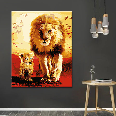 Diamond Painting - Lion Father & Son - Stili fluttuanti - Ricamo a diamante - Dipingi con diamante