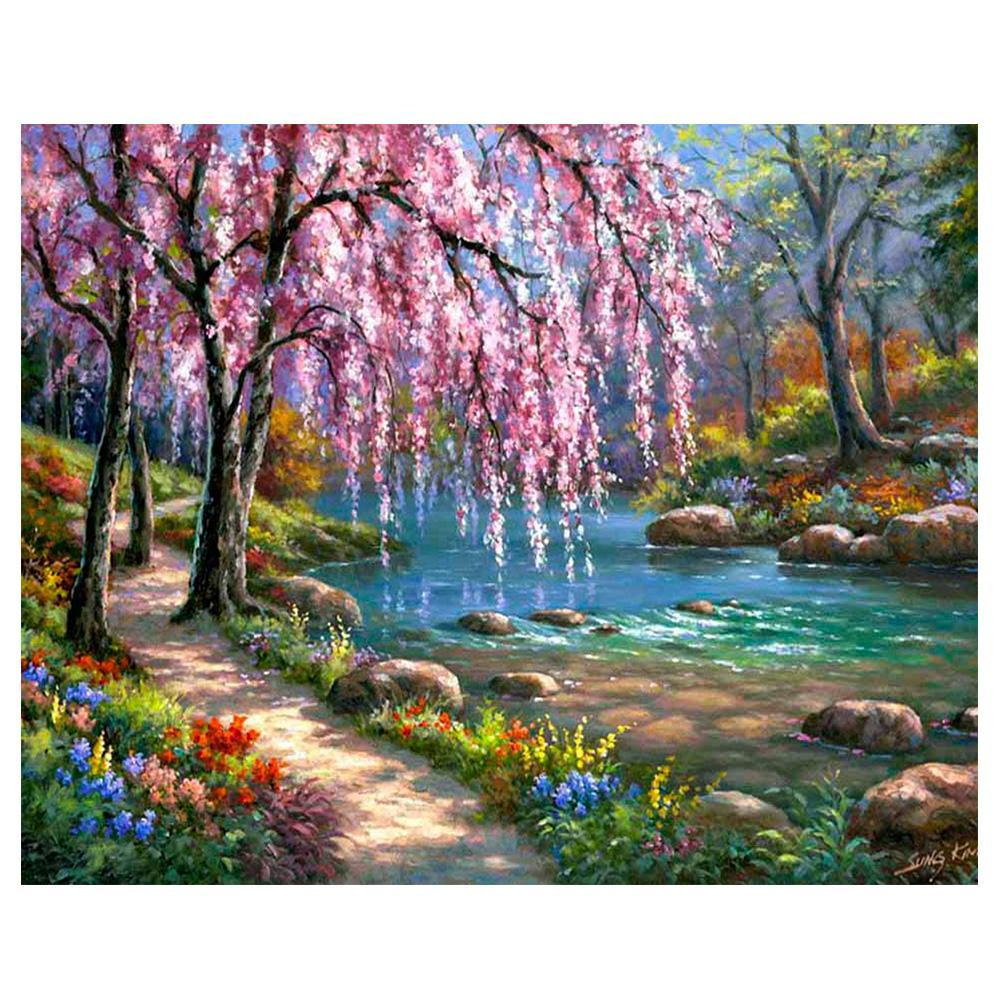 Diamond Painting - Spring Pathway - Floating Styles - Diamond Embroidery - Paint With Diamond