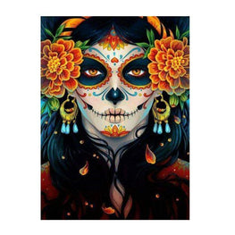 Diamond Painting - Skull Beauty With Marigold - Floating Styles - Diamond Embroidery - Paint With Diamond