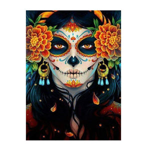 Diamond Painting - Skull Beauty With Marigold - Floating Style - Diamond Haft - Paint With Diamond