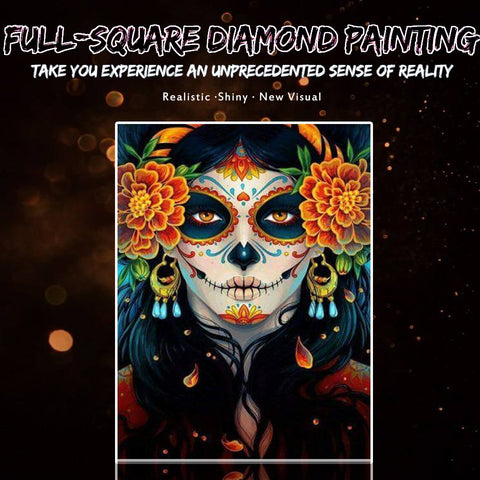 Kuva Diamond Paintingista - Skull Beauty With Marigold - Kelluvat tyylit - Diamond-kirjonta - maalaa timantilla