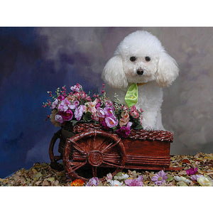 Diamond Painting - White Poodle - Floating Styles - Diamond Embroidery - Paint With Diamond