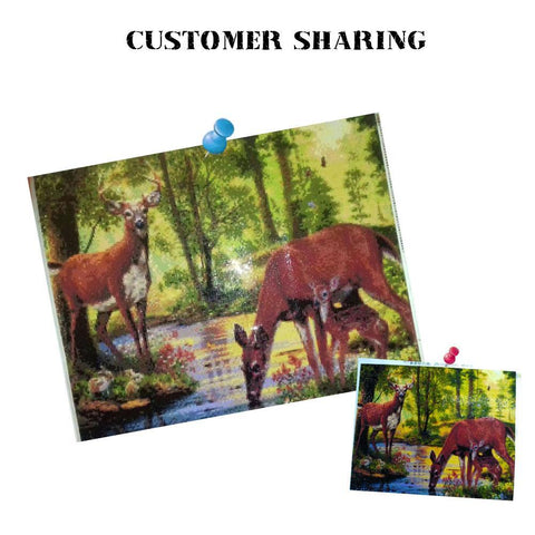 Diamond Painting - Deers By The Creek - Floating Style - Diamentowy haft - Paint With Diamond
