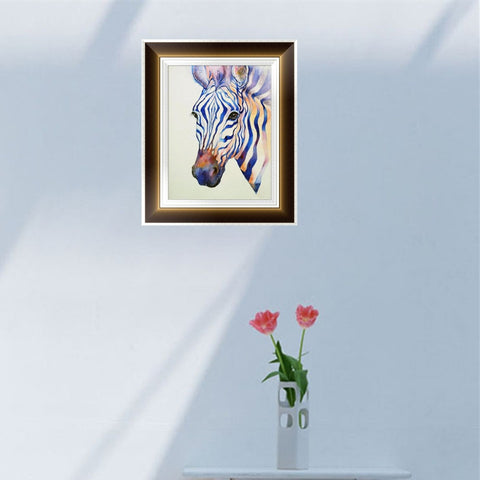Diamond Painting - Zebra - 30x40cm - Partial Pasted - Floating Styles - 다이아몬드 자수 - 다이아몬드 페인트