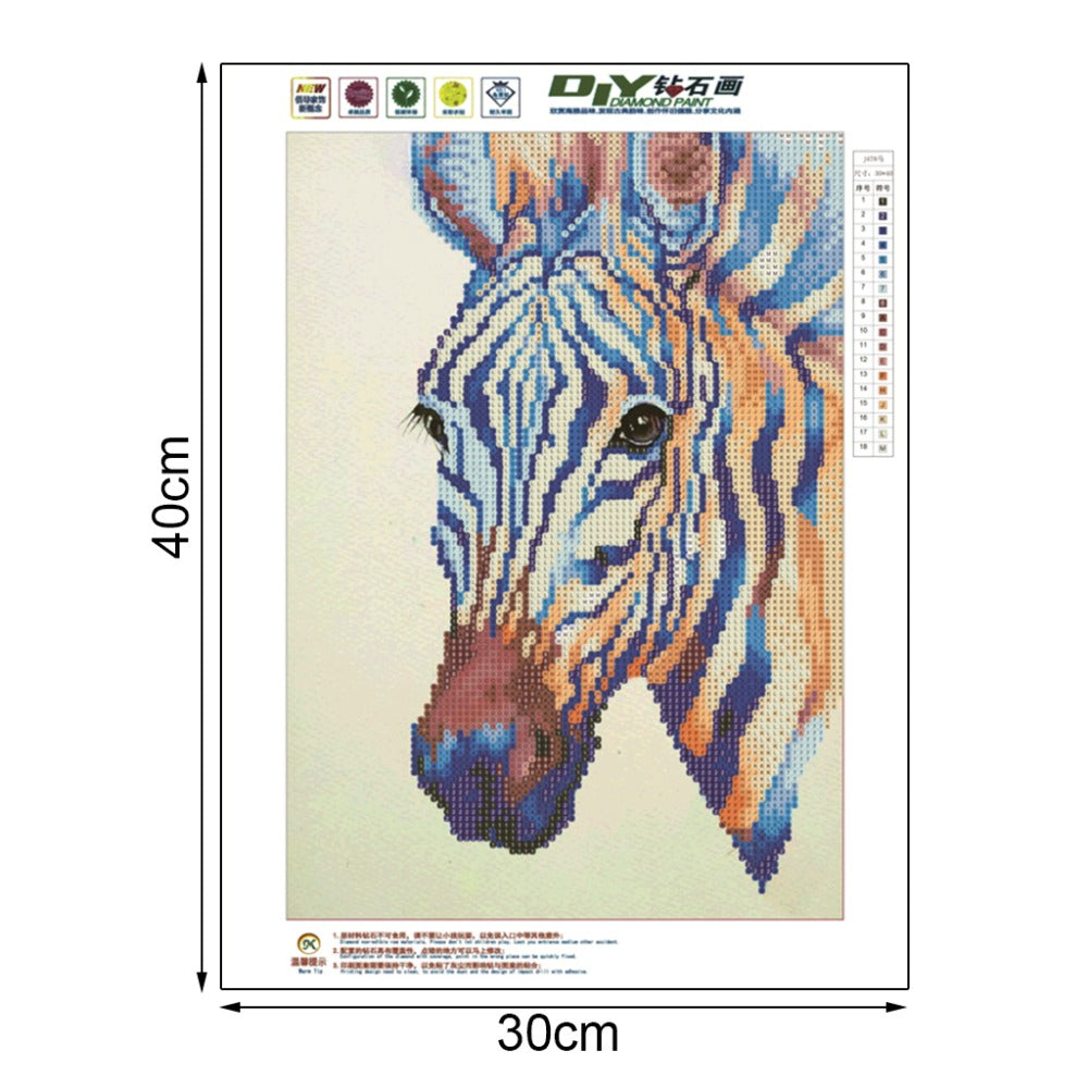 Diamond Painting - Zebra - 30x40cm - Partial Pasted - Floating Styles - Diamond Embroidery - Paint With Diamond
