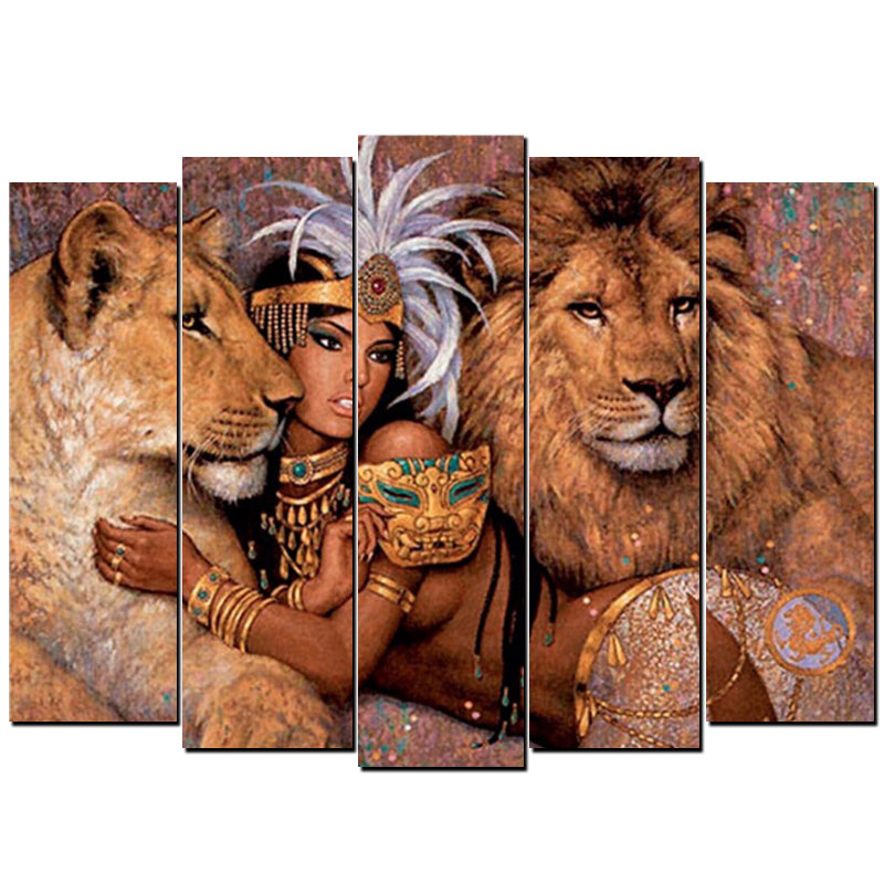 5 Panels Diamond Painting - Egyptian Goddess - Floating Styles - Diamond Embroidery - Paint With Diamond