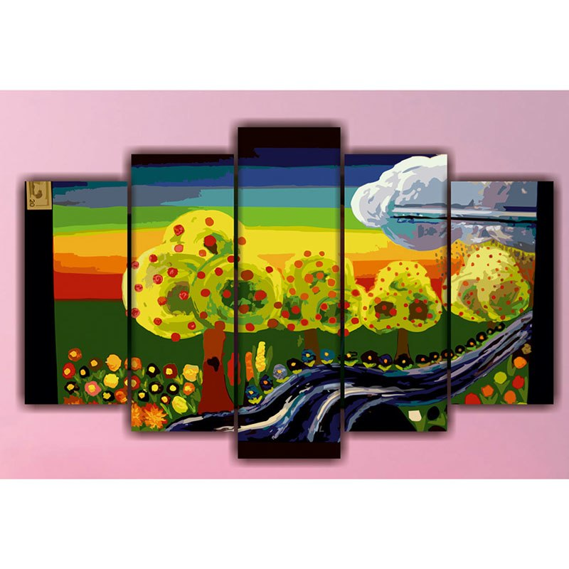 5 Panels Diamond Painting - Bon Voyage - Floating Styles - Diamond Embroidery - Paint With Diamond
