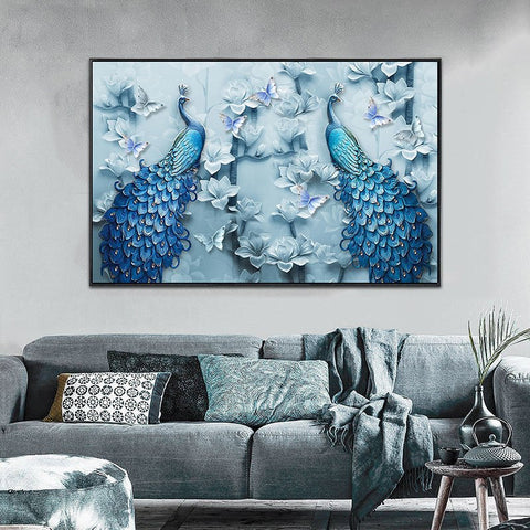 Image of Diamond Painting - Peacock Lovers - Floating Styles - Diamond Embroidery - Paint With Diamond