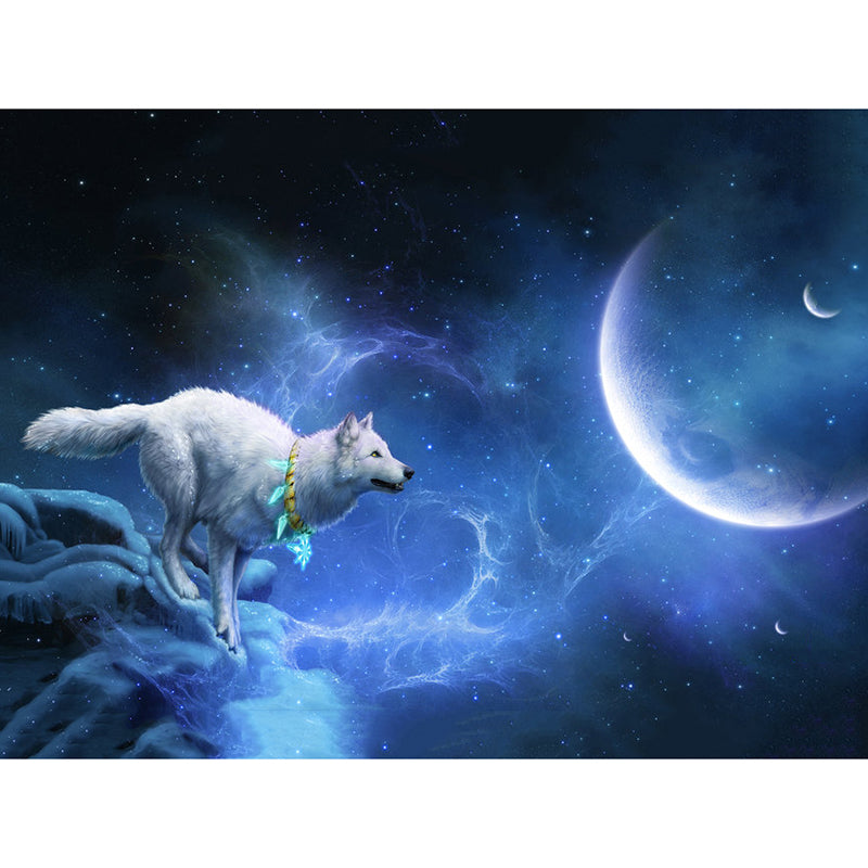 Diamond Painting - Wolf & New Moon - Floating Styles - Diamond Embroidery - Paint With Diamond