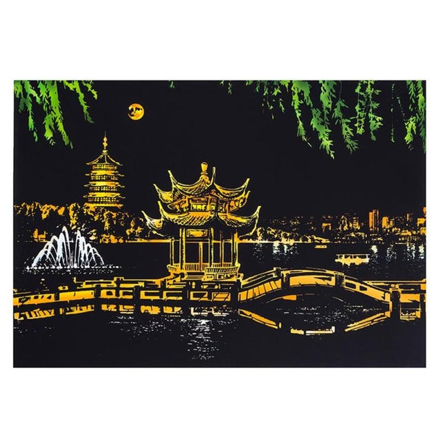 Scratch Art - West Lake - Floating Styles - Diamond Embroidery - Paint With Diamond