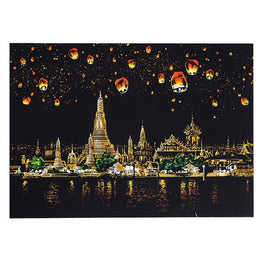 Scratch Art - Chiang Mai in Festival - Floating Styles - Diamond Embroidery - Paint With Diamond