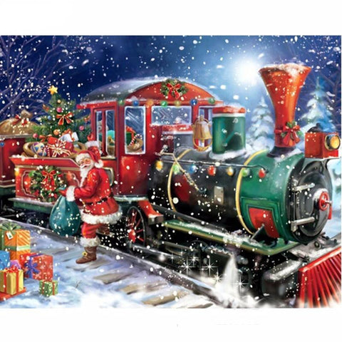 Obraz Diamond Painting - Christmas Santa Express - Floating Style - Diamond Haft - Paint With Diamond