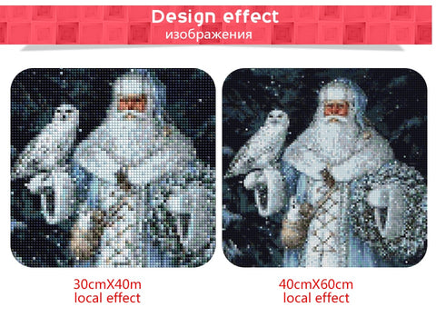 Obraz Diamond Painting - Snow Father Christmas - 1 - Floating Style - Diamond Haft - Paint With Diamond